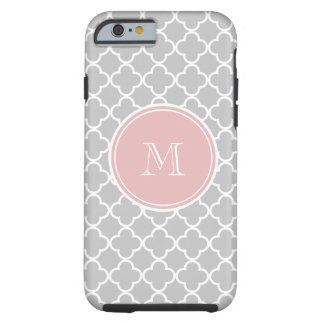 Gray Quatrefoil Pattern, Pink Monogram Tough iPhone 6 Case