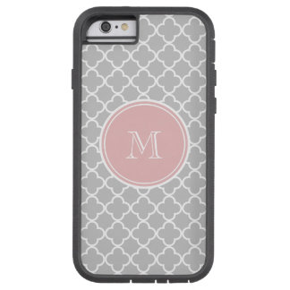 Gray Quatrefoil Pattern, Pink Monogram Tough Xtreme iPhone 6 Case