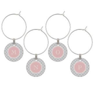 Gray Quatrefoil Pattern, Pink Monogram Wine Charm