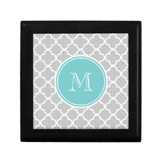 Gray Quatrefoil Pattern, Teal Monogram Gift Box