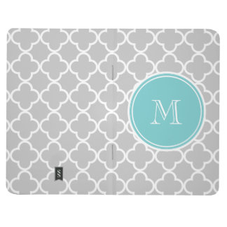Gray Quatrefoil Pattern, Teal Monogram Journal