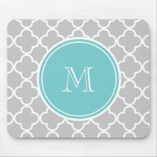 Gray Quatrefoil Pattern, Teal Monogram Mouse Mat