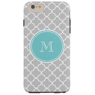 Gray Quatrefoil Pattern, Teal Monogram Tough iPhone 6 Plus Case