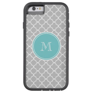 Gray Quatrefoil Pattern, Teal Monogram Tough Xtreme iPhone 6 Case