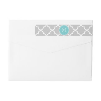Gray Quatrefoil Pattern, Teal Monogram Wrap Around Label