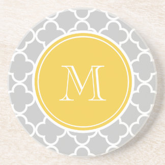 Gray Quatrefoil Pattern, Yellow Monogram Beverage Coaster