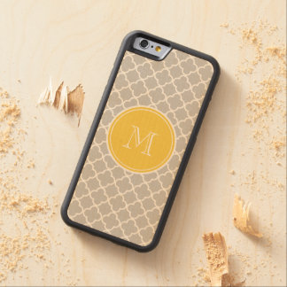 Gray Quatrefoil Pattern, Yellow Monogram Carved Maple iPhone 6 Bumper Case