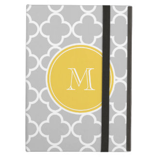 Gray Quatrefoil Pattern, Yellow Monogram Cover For iPad Air