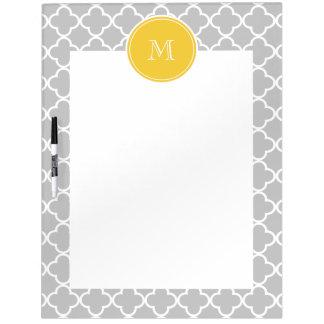 Gray Quatrefoil Pattern, Yellow Monogram Dry Erase Board