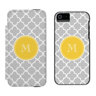 Gray Quatrefoil Pattern, Yellow Monogram Incipio Watson™ iPhone 5 Wallet Case