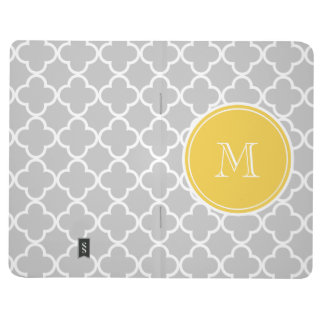 Gray Quatrefoil Pattern, Yellow Monogram Journal