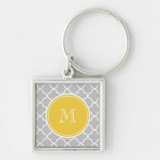 Gray Quatrefoil Pattern, Yellow Monogram Keychains