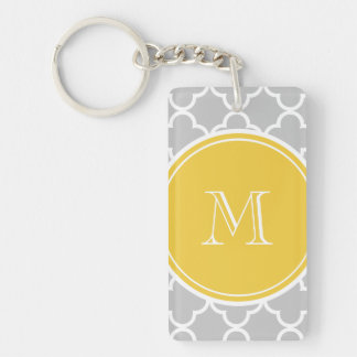 Gray Quatrefoil Pattern, Yellow Monogram Key Ring