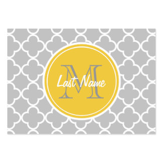 Gray Quatrefoil Pattern, Yellow Monogram Pack Of Chubby Business Cards