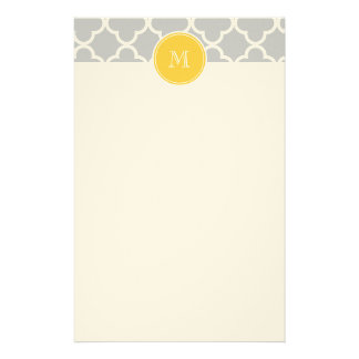 Gray Quatrefoil Pattern, Yellow Monogram Stationery