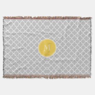 Gray Quatrefoil Pattern, Yellow Monogram Throw Blanket