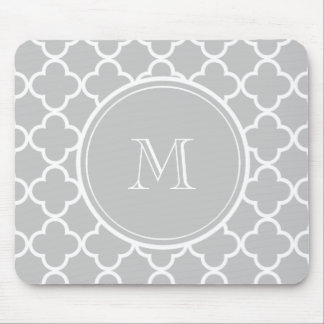 Gray Quatrefoil Pattern, Your Monogram Mouse Mat