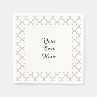 Gray Quatrefoil Pattern, Your Monogram Paper Serviettes