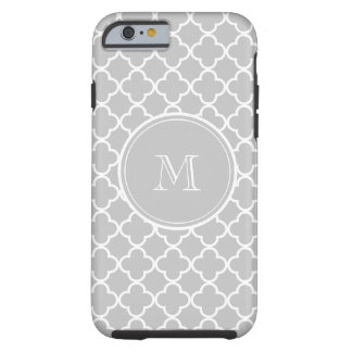 Gray Quatrefoil Pattern, Your Monogram Tough iPhone 6 Case