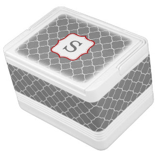 Gray Quatrefoil Red Personalized Monogram Igloo Cool Box
