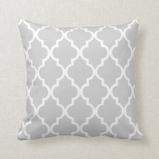 Gray Quatrefoil Tiles Pattern Throw Pillow