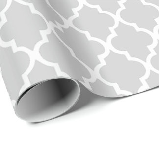 Gray Quatrefoil Tiles Pattern Wrapping Paper
