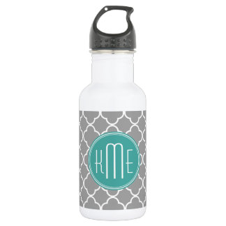Gray Quatrefoil with Custom Mint Monogram 532 Ml Water Bottle
