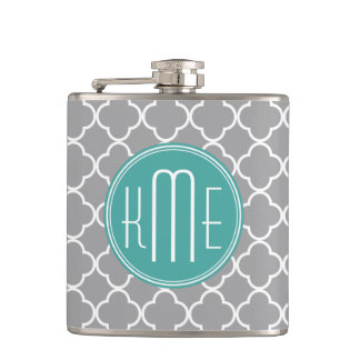 Gray Quatrefoil with Custom Mint Monogram Hip Flask