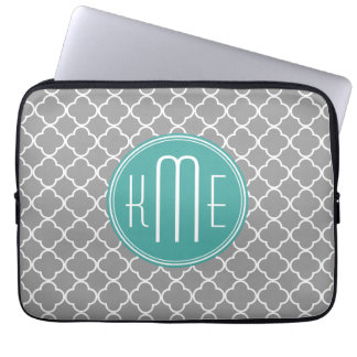 Gray Quatrefoil with Custom Mint Monogram Laptop Sleeve