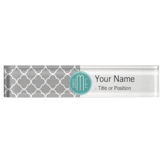 Gray Quatrefoil with Custom Mint Monogram Name Plate