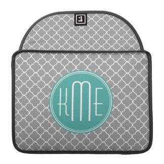 Gray Quatrefoil with Custom Mint Monogram Sleeve For MacBooks