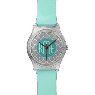 Gray Quatrefoil with Custom Mint Monogram Wristwatch