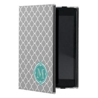 Gray Quatrefoil with Monogram Mint Vintage Frame iPad Mini Cover