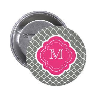 Gray Quatrefoil with Pink Monogram Pin