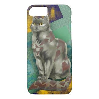 Gray Quilt Cat iPhone 7 Case