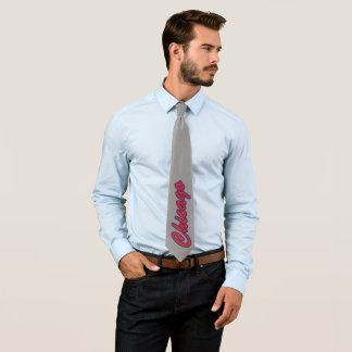 Gray Red and Blue Chicago Neck Tie