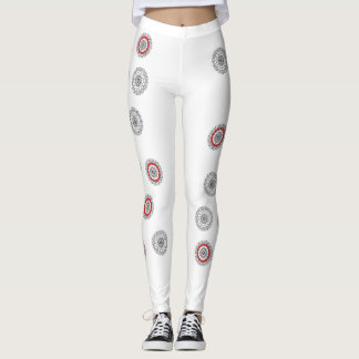 gray red and white leggings