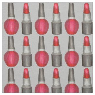 Gray Red Lipstick Nail Polish Makeup Beauty Print Fabric