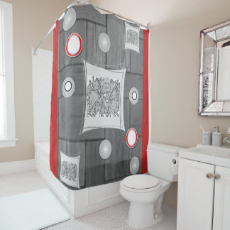 gray red white showercurtain shower curtain
