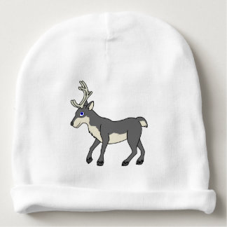 Gray Reindeer with Antlers Baby Beanie