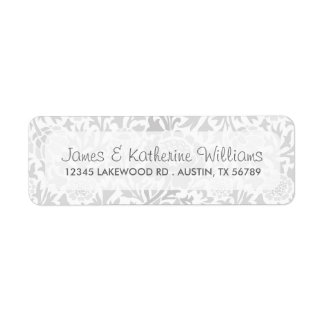 Gray Retro Floral Damask Modern Wedding