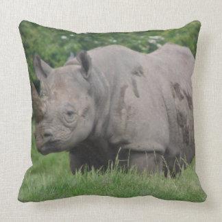 Gray Rhino in the wild Cushion