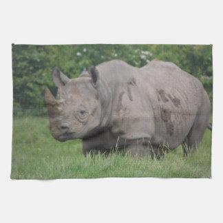 Gray Rhino in the wild Tea Towel
