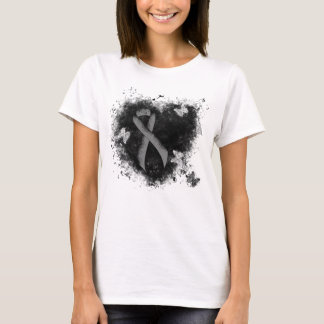 Gray Ribbon Grunge Heart T-Shirt