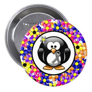 Gray Ribbon Penguin 7.5 Cm Round Badge