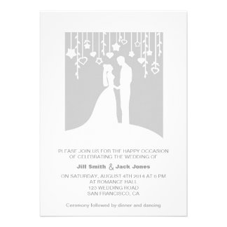 Gray romantic couple modern wedding invitation