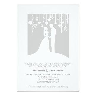"Gray romantic couple modern wedding invitation 5"" x 7"" invitation card"