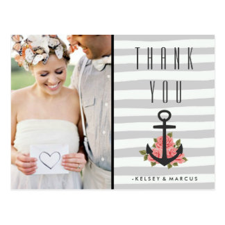 Gray Romantic Nautical Wedding Thank You Photo Postcard