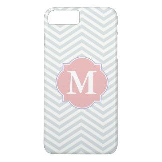 Gray & Rosy Brown Modern Chevron Custom Monogram iPhone 7 Plus Case
