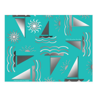 Gray Sailboats on Teal Nautical Print Postcard